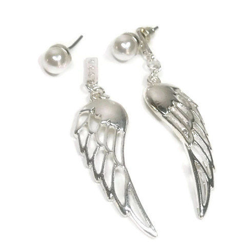 Angel,Wings,-,Wing,Earrings,Ear,Jacket,Double,Front,Back,Post,Stud,Drop,Pearl,Jewelry, Earrings, angel wing, ear jacket, earring jacket, pearl post, wing dangle, drop, fairy wing, gift for her