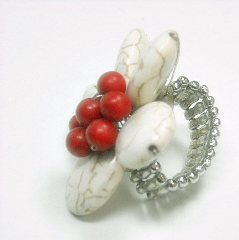 Gemstone Flower Ring - Stretch - Adjustable Ring - Boho Hippie - Statement - Flower Power - White and Red Ring - Floral Jewelry - product images  of