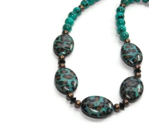 Genuine,Turquoise,Gemstone,Necklace,with,Leopard,Print,Beads,,Bronze,Pearls,,Animal,Print,,Jewelry,,December,Birthstone,,Wild,,Boho,,Nature,Jewelry, Necklace, Genuine Turquoise, gemstone, Leopard Print, Blue And Brown, Freshwater Pearls, December Birthstone, Animal Print, choker, real turquoise