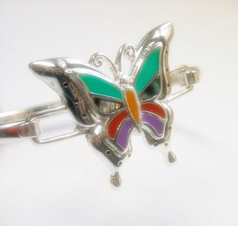 Inlay,Butterfly,Bracelet,-,Bangle,Southwest,Style,Bug,Insect,Symbolic,Animal,Jewelry, Bracelet, inlay butterfly, bangle bracelet, minimalist, southwest,symbolic animal, bug, insect, colorful