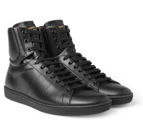 SOLD-Saint,Laurent,Black,Leather,High-Top,Sneaker,ysl, leather sneakers, mens sneakers, ysl sneakers, black, leather, noir