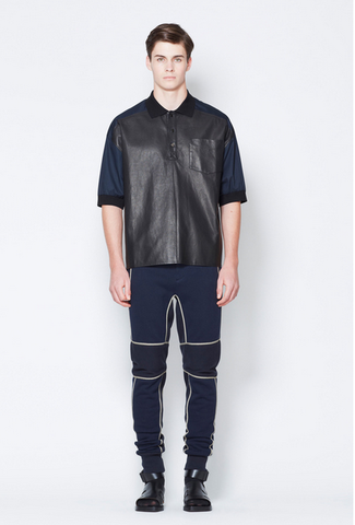 LEATHER,FRONT,OVERSIZED,POLO,SHIRT,WITH,KNIT,TRIMS,leather shirt,mens polo,mens leather shirt, phillip lim, 3.1