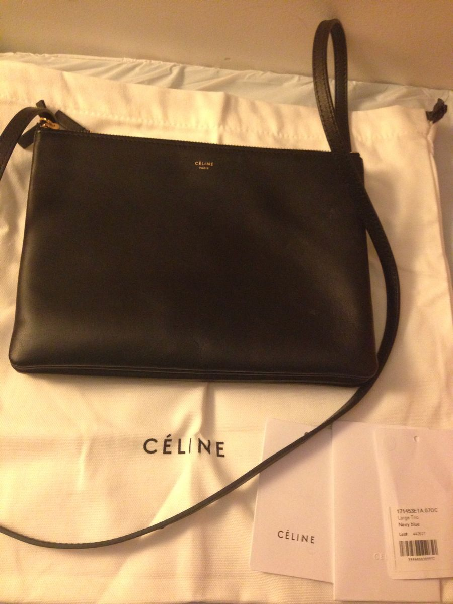 SOLD Celine Trio Black Leather - Trunk Show Designer Consignment
