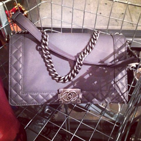 Chanel,gray,Leather,Le,Boy--,Anthracite, Chanel Leboy, Chanel boy, Chanel consignment , Chanel bags, Chanel classic