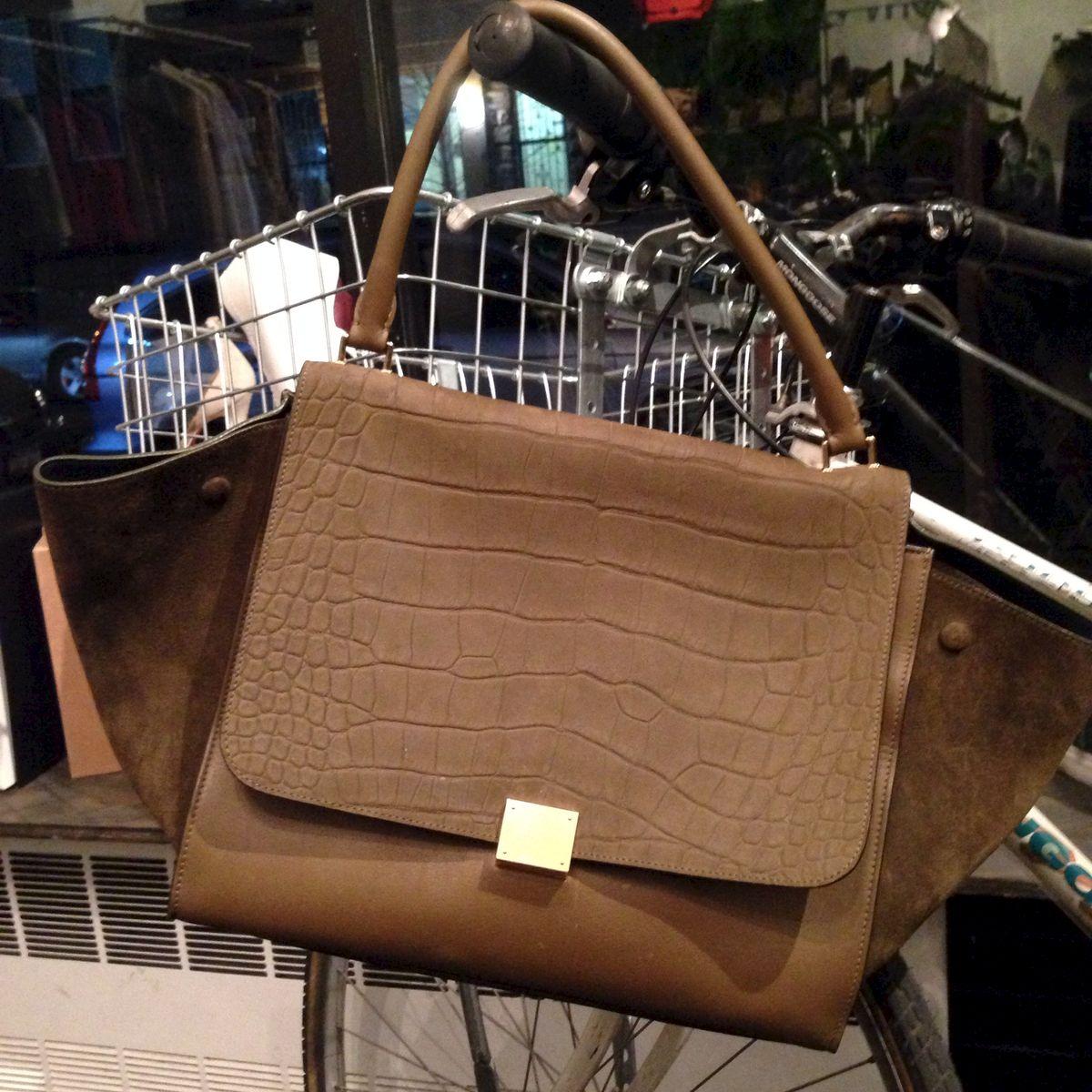 best celine bag - SOLD-Celine Olive Suede Croc Trapeze - Trunk Show Designer Consignment