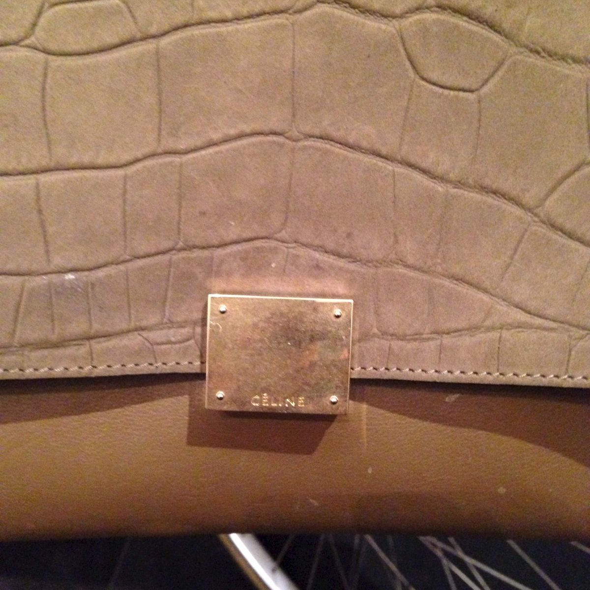 SOLD-Celine Olive Suede Croc Trapeze - Trunk Show Designer Consignment