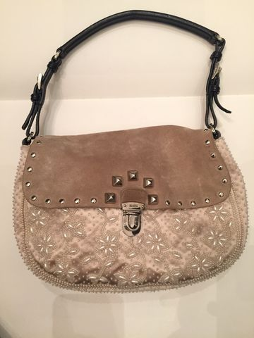 Prada,Embroidered,Suede,and,Satin,Handbag,prada handbag, prada, suede purse, embroidered handbag, handbag, purse, prada consignment