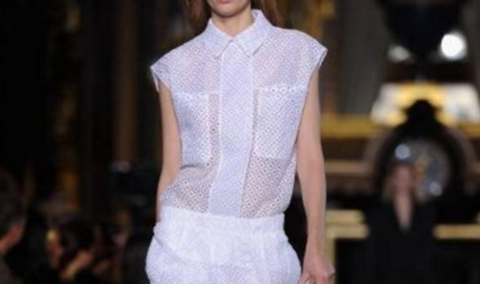 Stella,McCartney,Eyelet,Boxy,Shirt,&,Pencil,Skirt,stella mccartney runway, stella mccartney eyelet, stella mccartney pencil skirt and shirt