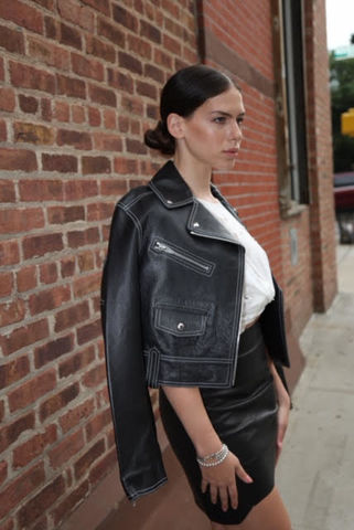 Alexander,Wang,Top,Stitch,Leather,Biker,Jacket,alexander wang consignment, alexander wang leather jacket, alexander wang biker