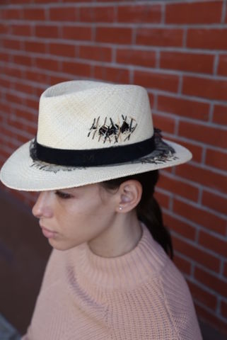 Maison,Michel,Destroyed,Straw,Hat,Maison Michel hat, Maison Michel consignment, Maison Michel destroyed hat, Maison Michel