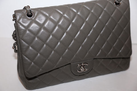Chanel,Maxi,Caviar,Leather,Shoulder,Bag,in,Gray,chanel, maxi, chanel consignment, gray chanel bag, chanel collectors, chanel jumbo
