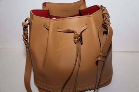 Salvatore,Ferragamo,Bucket,Drawstring,Shoulder,Bag,salvatore ferragamo shoulder bag, consignment leather handbags, camel leather, bucket bag