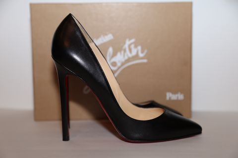 Christian,Louboutin,black,leather,Christian Louboutin, heels, black, leather, consignment