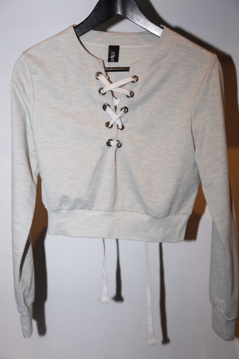 Cloth link cropped sweater - product images  of