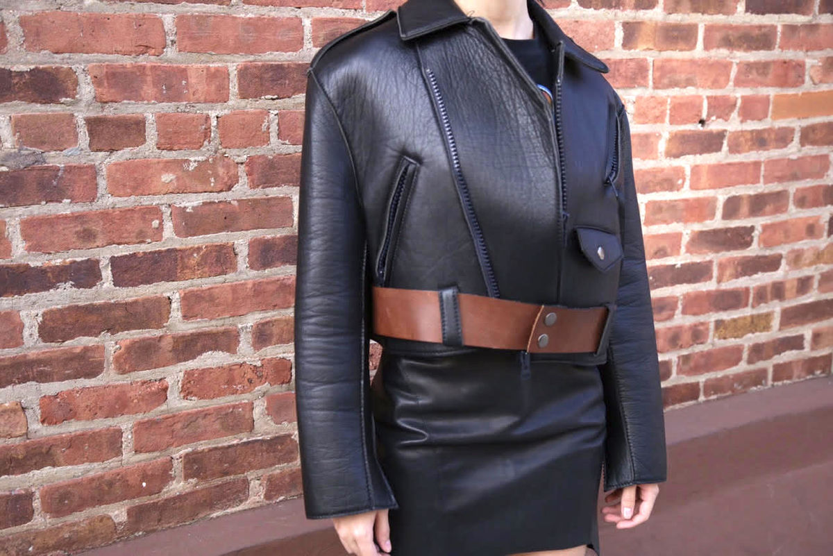 Hache Neoprene/Lambskin Leather Biker - product images  of