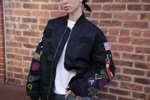 SMOKE,RISE,ARMY,PATCH,BOMBER,Bomber jacket