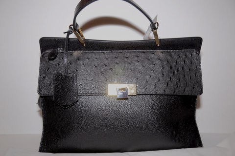 Balenciaga,Ostrich,Le,Dix,Cartable,Bag,Balenciaga Bag, Ostrich Bag, Black Balenciaga Bag, Balenciaga Le Dix Cartable Bag