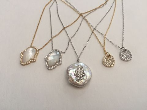 Crystal,Hamsa,Hand,in,Silver,with,Gemstone,Back,crystal hamsa, hamsa hand, hand of Fatima, silver necklace