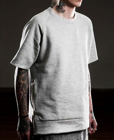 SOLD-Fear,of,God,Gray,Short,Sleeved,Sweatshirt,fear of god, mens, sweatshirt, crew neck