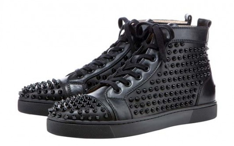 SOLD-,Christian,Louboutin,Flat,Black,Spike,Sneaker,flat sneakers, louboutin sneakers, louboutin men, spike, spike sneakers