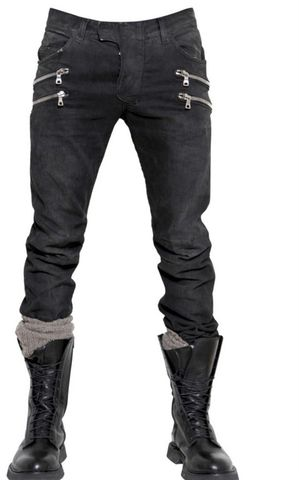 Black,Balmain,Men's,Double,Zipper,Jeans,balmain, biker jeans, motorcycle jeans