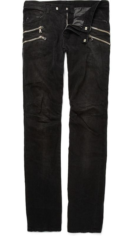 SOLD-Black Balmain Men's Double Zipper Jeans - Trunk Show Designer ...