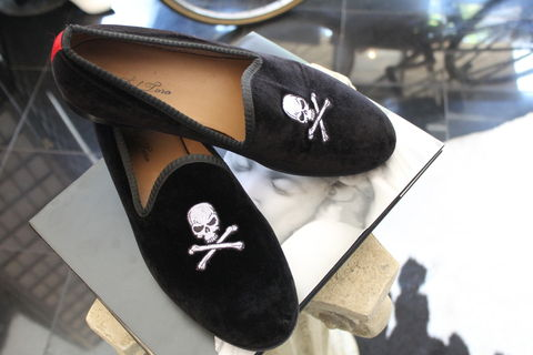 SOLD-Del,Toro,Velvet,Skull,Slipper,Shoe,Mens fashion, shoes, black, velvet, designer