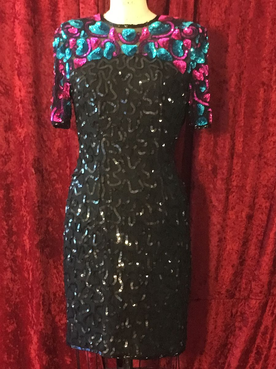 Vintage BNWT Hot Pink & Turquoise Sequin & Beaded Cocktail Dress - product images  of