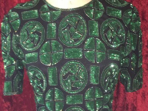 Stunning,Black,&,Green,Patterned,,Beaded,Sequined,Cocktail,Dress, Black, Green Patterned, Beaded & Sequined Cocktail Dress