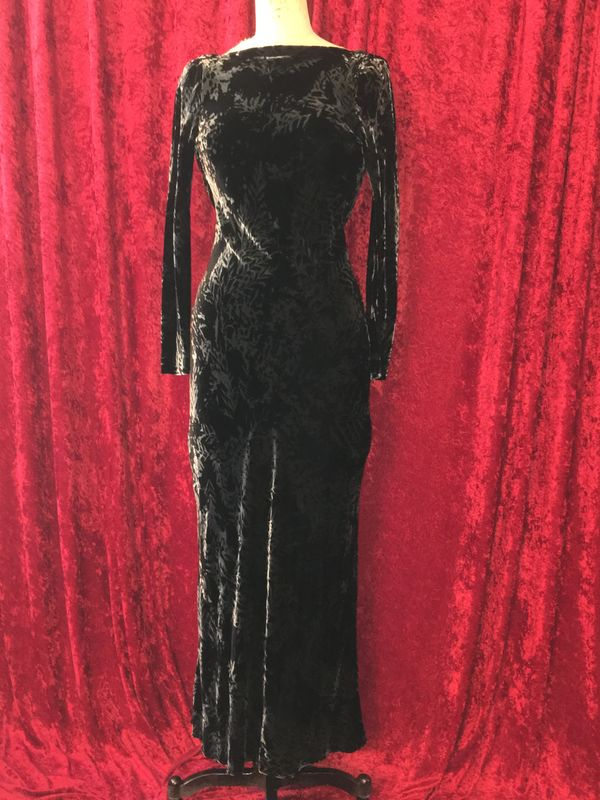 BNWT Black and Grey Patterned Velvet Long Morticia Dress - product images  of