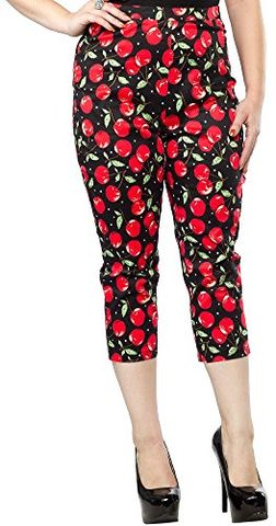 Almost,New,Sourpuss,Cherry,Print,Capris,Almost New Sourpuss Cherry Print Capris