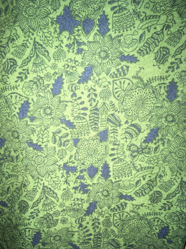 LulaRoe OS Sage Green with Black & Navy Floral Leggings - product images  of