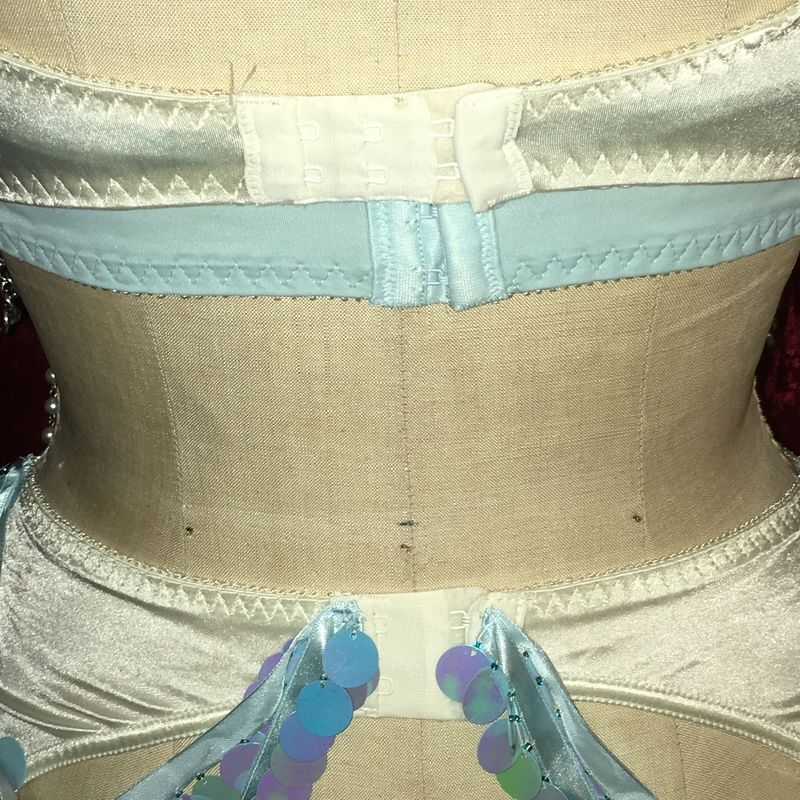 3-Piece Set Light Blue and Ivory, Bra, Barter, Underbust Bra with Pearls, Rhinestones and Spangle Sequins - product images  of
