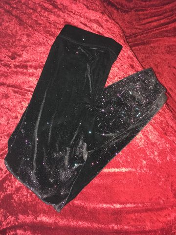 VS,Pink,Black,Rainbow,Sparkle,Stretch,Velvet,Leggings,M,VS Pink Black Rainbow Sparkle Stretch Velvet Leggings M