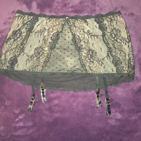 VS,Black,Garter,Skirt,with,G-String,,Crystals,,Lace,,Iridescent,Shimmer,VS Black Garter Skirt with G-String, Crystals, Lace, Iridescent Shimmer