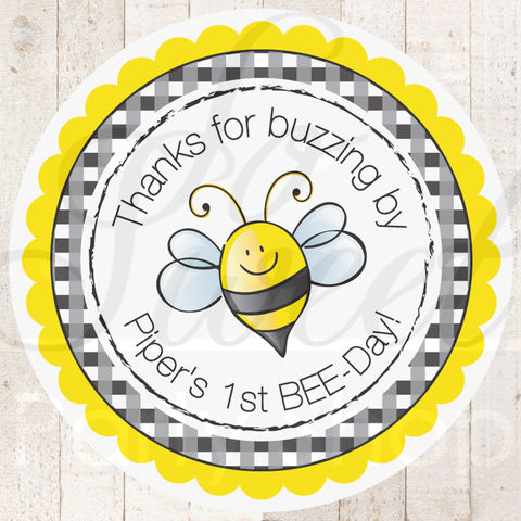 24,Birthday,Favor,Sticker,Labels,-,Bumble,Bee,Personalized,favor sticker labels, party favors birthday stickers, party favor bag stickers, containers labels, envelope seals, party decor labels