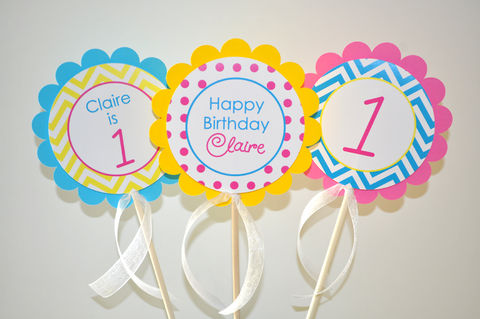 3,Girls,Birthday,Centerpiece,Sticks,-,Chevron,Decorations,with,Polkadots,Teal,,Pink,,Yellow,chevron birthday, 1st birthday, centerpieces, birthday centerpieces, girls birthday decorations, polkadot birthday, pink, teal, yellow