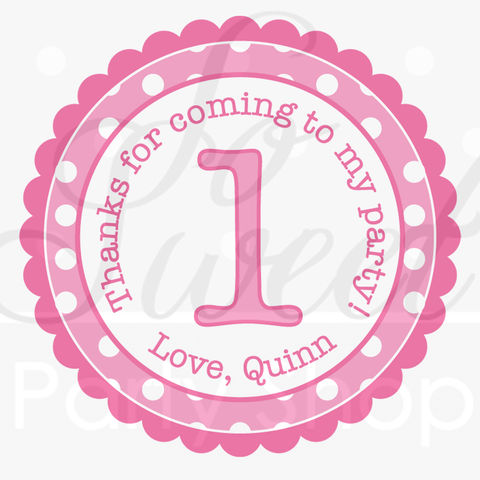24,Girl's,1st,Birthday,Party,Favor,Sticker,Labels,-,Personalized,Pink,and,White,Polkadots,favor sticker labels, party favors birthday stickers, party favor bag stickers, containers labels, envelope seals, party decor labels