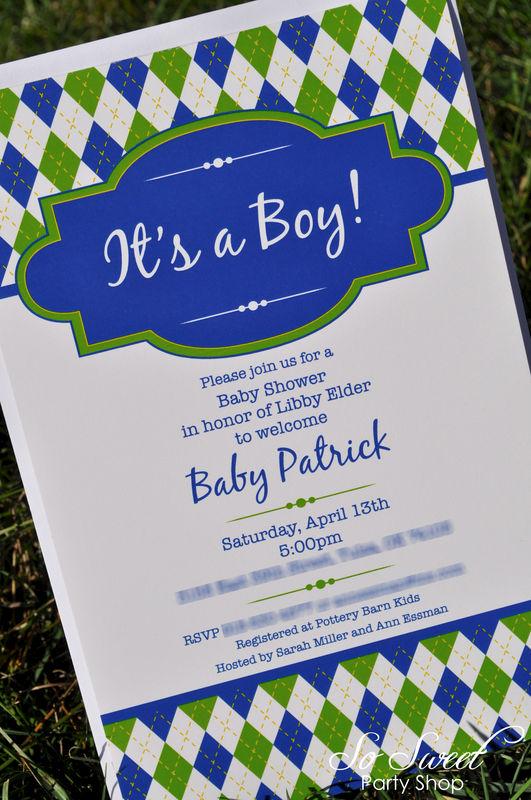 Argyle Invitations Birthday or Baby Shower Invitations Boys – Golf Themed Birthday Invitations