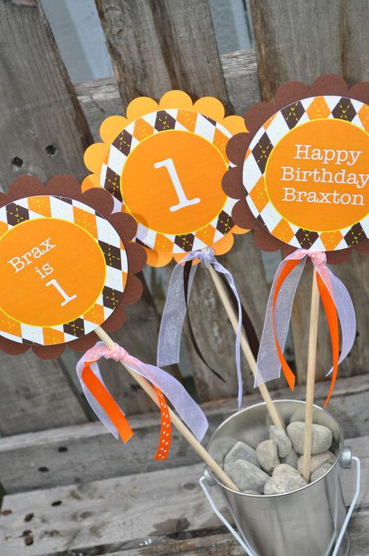 argyle birthday centerpiece sticks halloween autumn birthday party decorations fall colors brown - Halloween Birthday Party Decorations