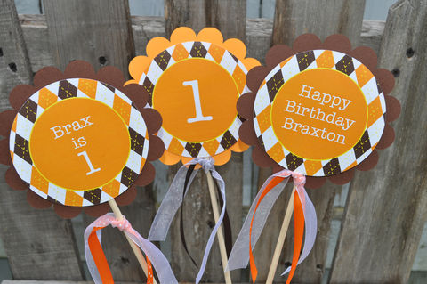 Argyle,Birthday,Centerpiece,Sticks,-,Halloween,,Autumn,Party,Decorations,Fall,Colors,Brown,,Orange,,Yellow,Set,of,3,argyle centerpiece sticks, birthday centerpieces, table decorations, birthday party favor tags, halloween birthday favor tags, argyle favor tags, argyle birthday, birthday banners, decoration, baby shower banner, 1st birthday banner, happy birthday banner