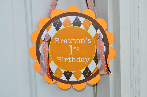 Argyle,Birthday,Door,Sign,-,Halloween,,Autumn,Party,Decorations,Fall,Colors,Brown,,Orange,,Yellow,argyle birthday party door sign, party sign, argyle centerpiece sticks, birthday centerpieces, table decorations, birthday party favor tags, halloween birthday favor tags, argyle favor tags, argyle birthday, birthday banners, decoration, baby shower banne