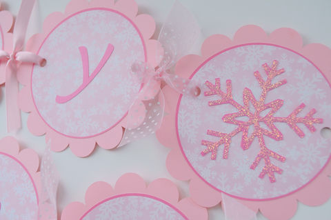 Girls,1st,Birthday,Banner,-,Snowflake,,Winter,One-derland,Christmas,1st birthday banner, winter one derland, winter birthday banner, snowflake banner, pink snowflake banner, holiday banner,party decorations, personalized banner, water bottle labels, personalized labels, beverage label