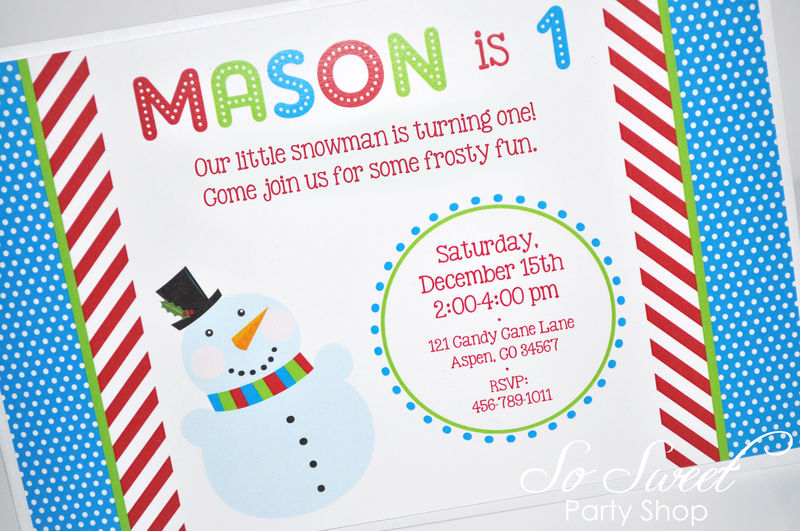 Snowman Birthday Invitations Winter Onederland Birthday Party