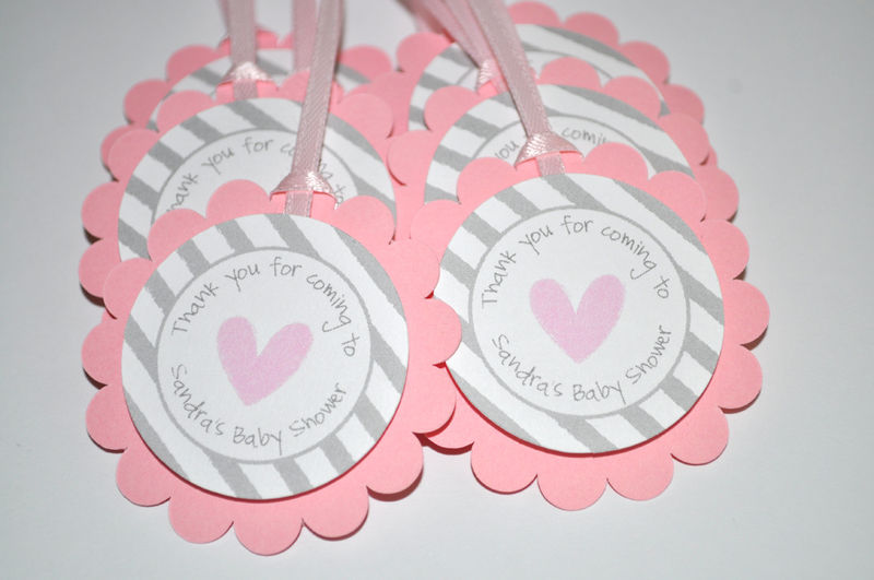 baby shower favor tags pink and gray thank you tags baby shower