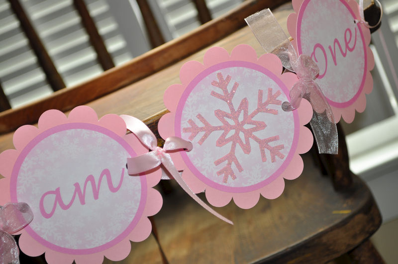 Snowflake 1st Highchair Birthday Banner - Snowflake, Winter One-derland - Christmas Birthday Banner - product images  of