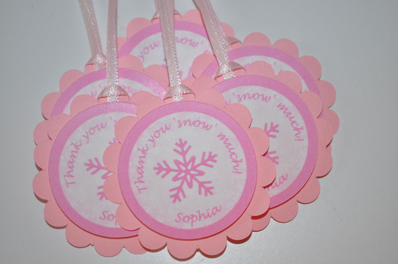 Snowflake Favor Tags - Snowflake, Winter One-derland - Christmas Birthday Favor Tags - Set of 12 - product images  of