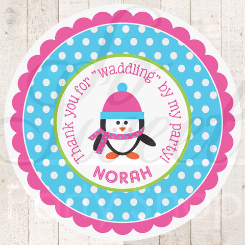 Girls,Penguin,Birthday,Favor,Sticker,Labels,-,Party,Winter,Onederland,Decorations,Set,of,24,penguin birthday party stickers, penguin birthday decorations, penguin party, girls penguin birthday, penguin birthday favors, favor sticker labels, party favors birthday stickers, party favor bag stickers, containers labels, envelope seals, party decor l
