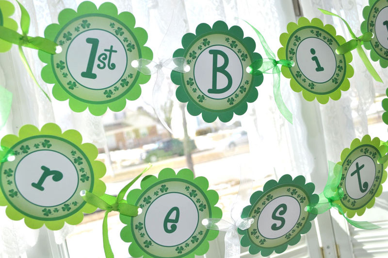St. Patrick's Day Birthday Favor Tags - St. Patrick's Day Decorations - Shamrocks, Clovers, Green - Set of 12 - product images  of