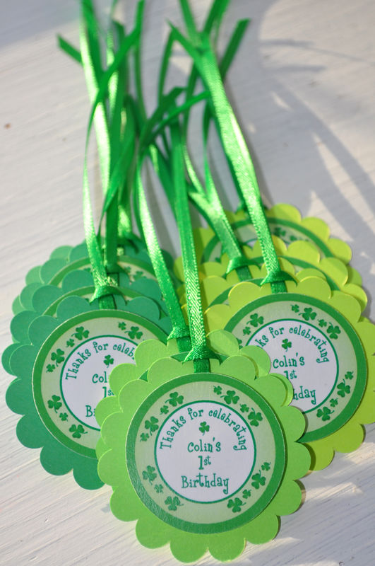 St. Patrick's Day Food Label Tent Cards - St. Patrick's Day Decorations - Shamrocks, Clovers, Green - Set of 12 - product images  of